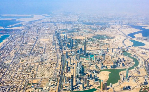 Dubai and Burj Khalifa from the Air, United Arab Emirates