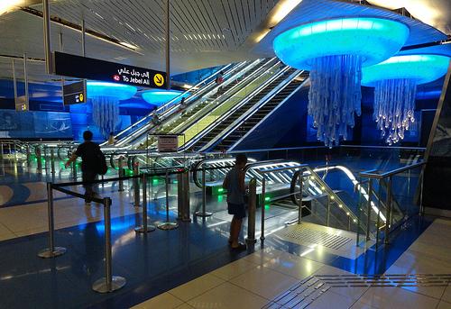 Interior Khalid Bin Waleed (Burjuman) Metro Station, Bur Dubai, Dubai, United Arab Emirates