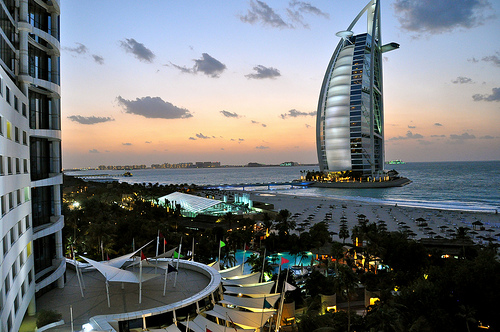 Jumeirah Beach and Burj Al Arab from Jumeirah Beach Hotel, Dubai, United Arab Emirates