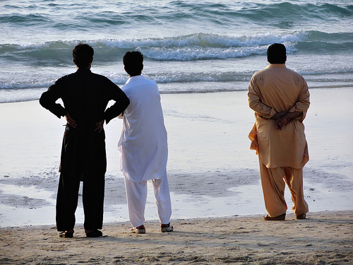 Men in Umm Suqeim Beach, Dubai, United Arab Emirates