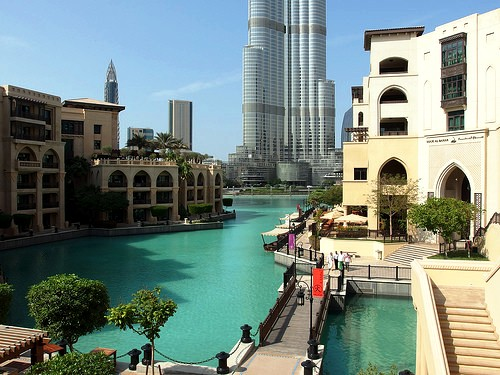 Souq Al Bahar, Khalifa Lake and Burj Khalifa, Downtown Dubai, Dubai, United Arab Emirates