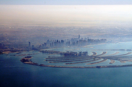 Palm Jumeirah Island from the Air, Dubai, United Arab Emirates