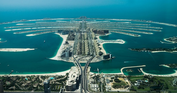 Palm Jumeirah and Mina Seyahi from the Air, Dubai, United Arab Emirates