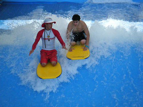 Surfing in Wild Wadi Waterpark, Jumeirah Beach, Dubai, United Arab Emirates