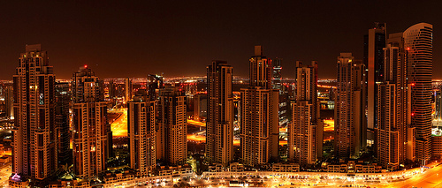 Skyscrapers at Night, Dubai, United Arab Emirates