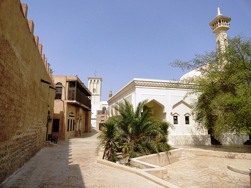 A Quiet Street in Al Fahidi Historic District (Bastakiya), Bur Dubai, Dubai, United Arab Emirates