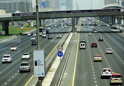 Traffic in Sheikh Zayed Road, Dubai, United Arab Emirates