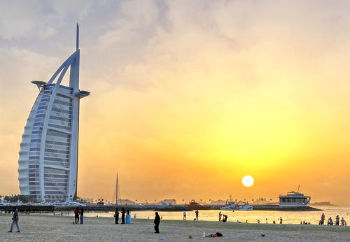 Umm Suqeim Beach and Burj Al Arab at Sunset, Dubai, United Arab Emirates