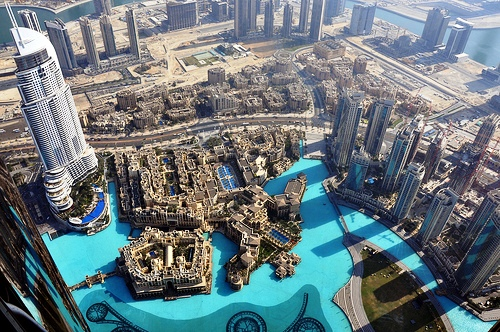 View of Old Town and Souq Al Bahar from Burj Khalifa, Downtown Dubai, United Arab Emirates