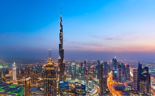 Downtown Dubai in the Evening, Dubai, United Arab Emirates