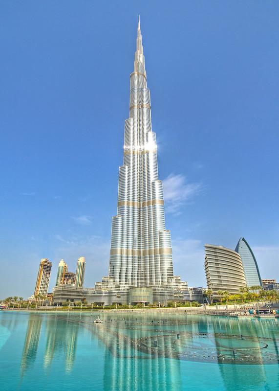 Burj Khalifa and Khalifa Lake in Downtown Dubai, Dubai, United Arab Emirates