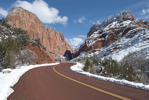 Kolob Canyons Road after a Snow Winter Storm, Zion National Park, Utah