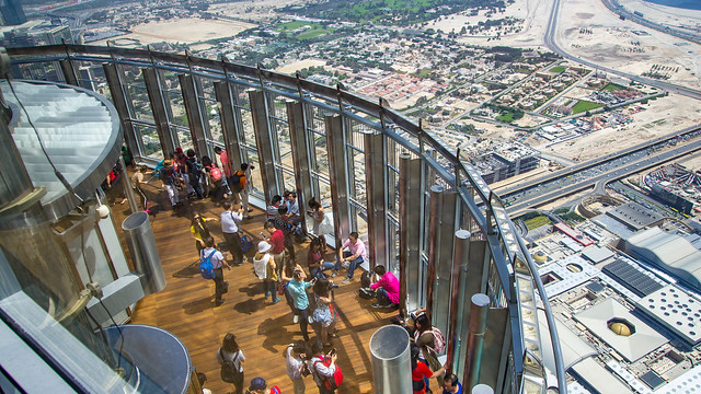 Looking down from the 125th floor on the outside deck on the 124th floor, Burj Khalifa, Dubai, United Arab Emirates