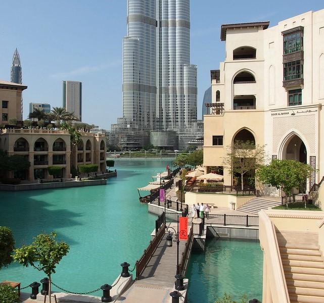 Souq Al Bahar, Khalifa Lake and Burj Khalifa, Downtown Dubai, Dubai, United Arab Emirates