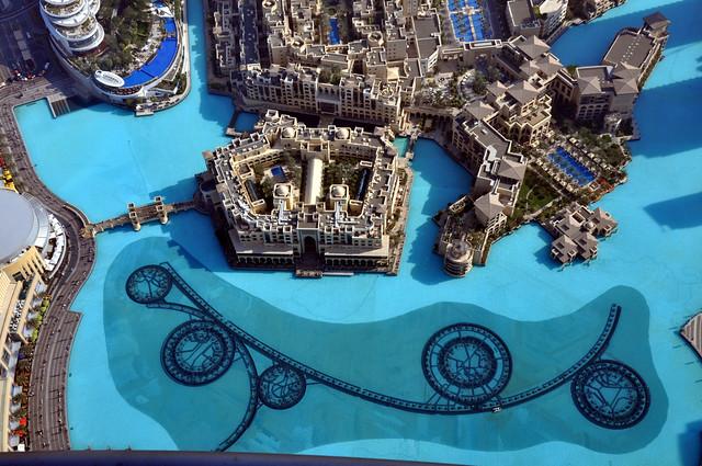 Old Town and Souk Al Bahar from Burj Khalifa, Downtown Dubai, Dubai, United Arab Emirates