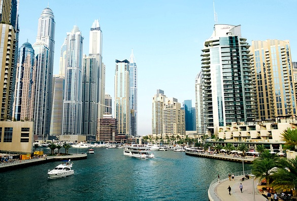 Dubai Marina from a Bridge, Dubai, UAE