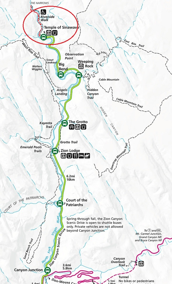 Riverside Walk Trail Map, Zion National Park, Utah