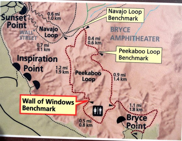 First section of Bryce Amphitheater Traverse & Peekaboo Loop Map, Bryce Canyon National Park, Utah