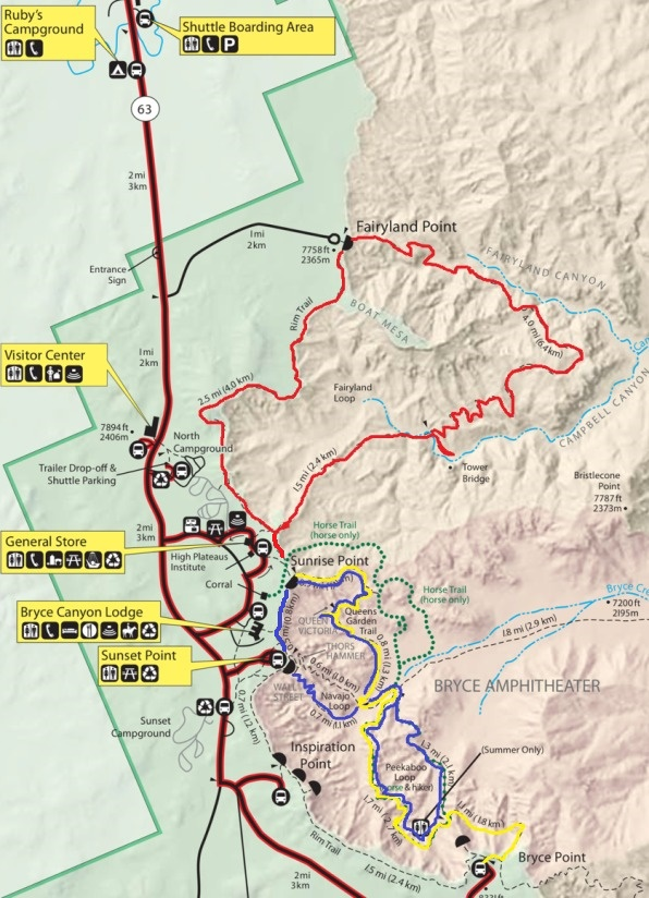 Map of the Top 3 Hikes in Bryce Canyon National Park Utah