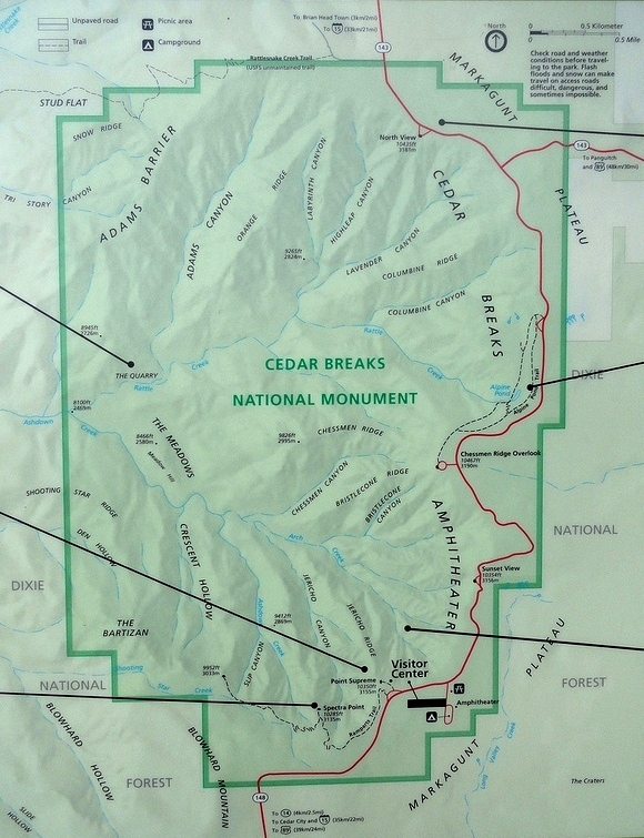 Map of Cedar Breaks National Monument, Utah