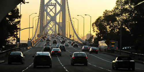 Cars on Bay Bridge, San Francisco, California