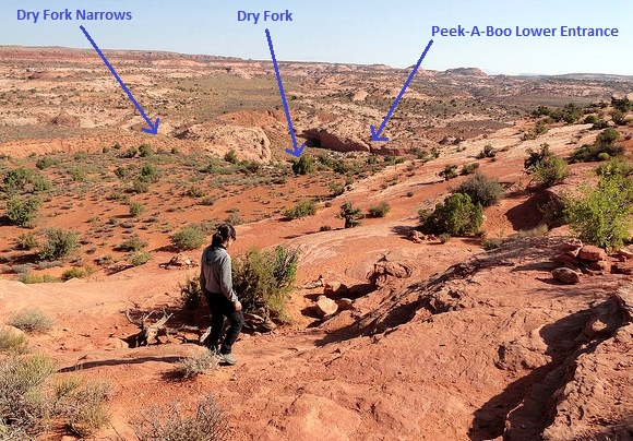 Dry Fork and Peek-A-Boo Entrance from Dry Fork Trailhead Grand Staircase-Escalante National Monument in Utah