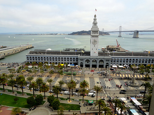 Ferry Building and Bay Bridge from Hyatt Regency Hotel, The Embarcadero, Financial District, San Francisco, California
