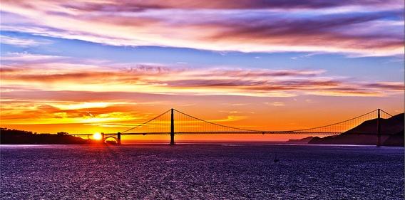 Golden Gate Bridge from Alcatraz Island at Sunset, San Francisco, California