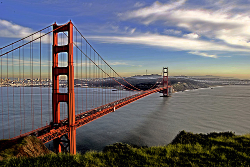 Golden Gate Bridge from the hill above Sausalito, San Francisco, California