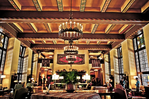 Interior of Historic Ahwahnee Lodge, now Majestic Yosemite Hotel, Yosemite Valley, Yosemite National Park, California