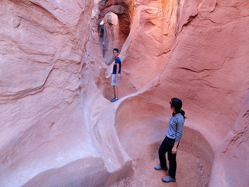 Large Pothole in the Lower Section of Peek-A-Boo Slot Canyon, The Dry Fork of Coyote Gulch in Grand Staircase-Escalante National Monument in Utah