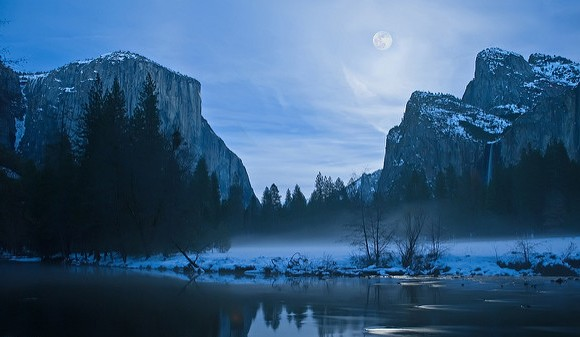 Merced River Moonrise, Yosemite Valley, Yosemite National Park, California