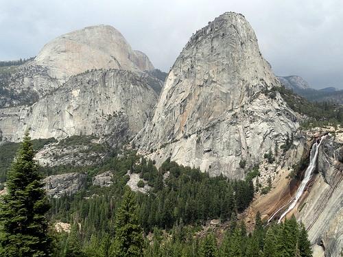 Nevada Fall, Liberty Cap and Half Dome from John Muir Trail, Yosemite National Park, California