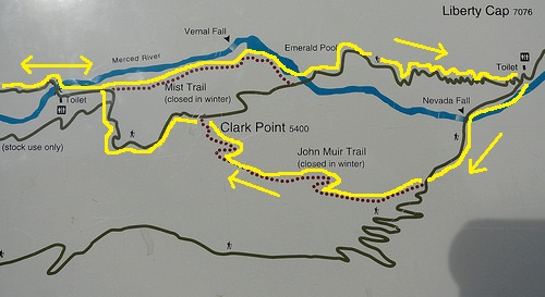 Vernal and Nevada Fall Loop Trail Map, Yosemite National Park, California