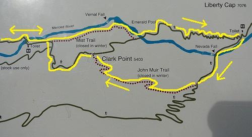 Vernal and Nevada Fall Loop Trail Map, Yosemite National Park, California