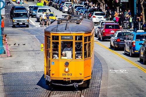 Original Tram from Milano Italy, now a Muni Historic F Line, San Francisco, California
