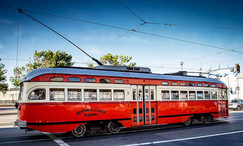 Painted in tribute to Boston but served in Philadelphia, now a Muni Historic F Line, Fisherman's Wharf, San Francisco, California