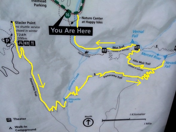 Panorama Trail Map, Yosemite National Park, California