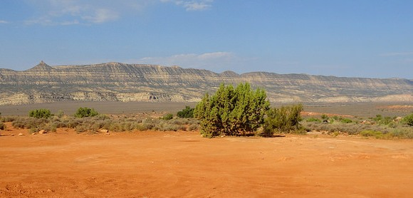 Straight Cliffs and the main valley of Hole-in-the-Rock Road from Dry Fork Trailhead, Grand Staircase-Escalante National Monument, Utah
