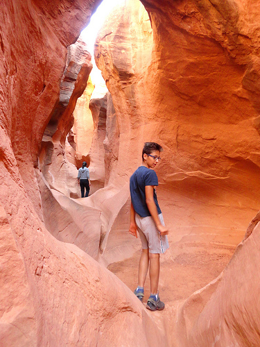 Under the Double Arch of Peek-A-Boo Slot Canyon, the Dry Fork of Coyote Gulch in Grand Staircase Escalante National Monument in Utah