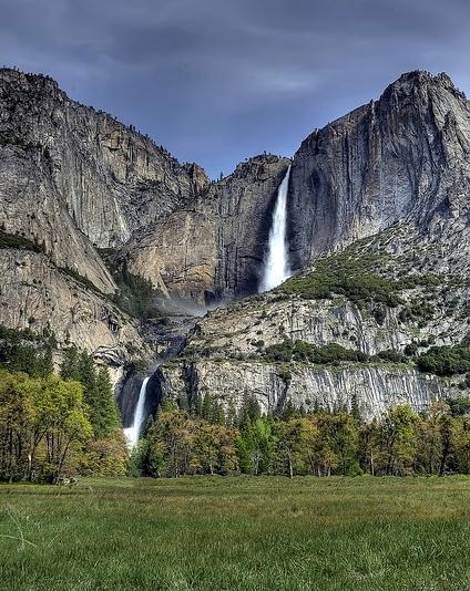Lower and Upper Yosemite Falls in Spring, Yosemite Valley, Yosemite National Park, California