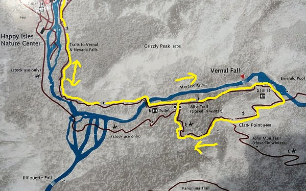 Vernal Fall, Mist Trail and John Muir Trail Map, Yosemite National Park, California
