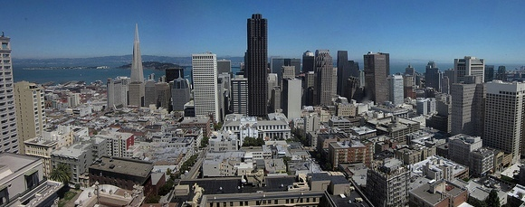 View of Financial District from the top of a Nob Hill hotel, San Francisco, California