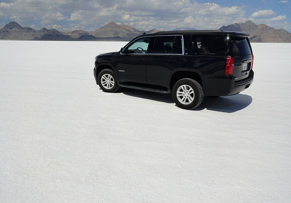 Driving on Bonneville Salt Flats, Utah