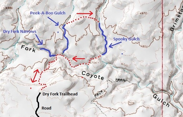 Map of Peekaboo and Spooky Gulch Loop, The Dry Fork of Coyote Gulch, Grand Staircase-Escalante National Monument, Utah