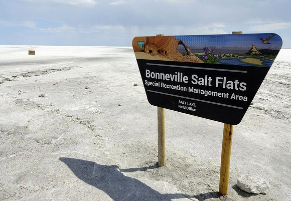 Entrance to Bonneville Salt Flats from the Access Road, Utah