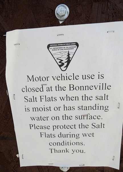 Motor vehicle use is closed at Bonneville Salt Flats when the salt is moist or has standing water on the surface