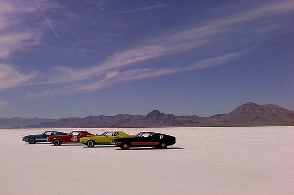 Racing Cars at Bonneville Speedway, Bonneville Salt Flats, Utah