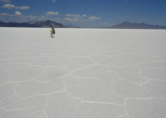 Silver Island Mountains (to the left) and Floating Island (to the right), Bonneville Salt Flats, Utah