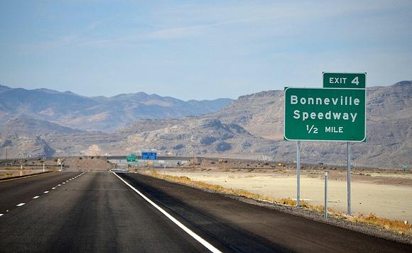 Westbound I-80 approaching Exit 4 to Bonneville Speedway and Bonneville Salt Flats, Utah